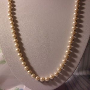 """Vintage Faux Pearl Bead Necklace 24"""" Long"""